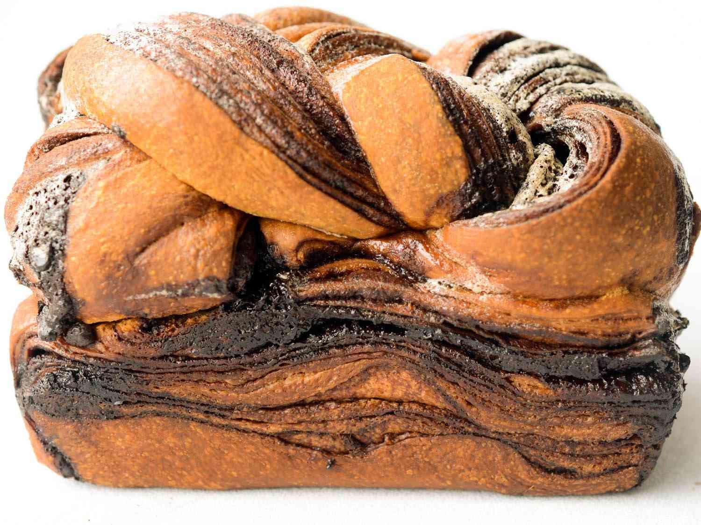 Up close photo of side of chocolate babka.