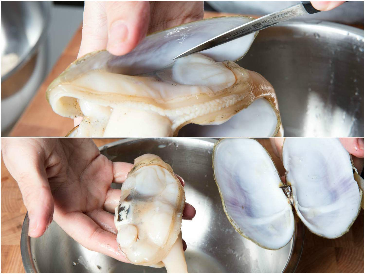 Collage of removing the razor clam from its shell: sliding a paring knife along shell to remove clam, freed whole clam in hand