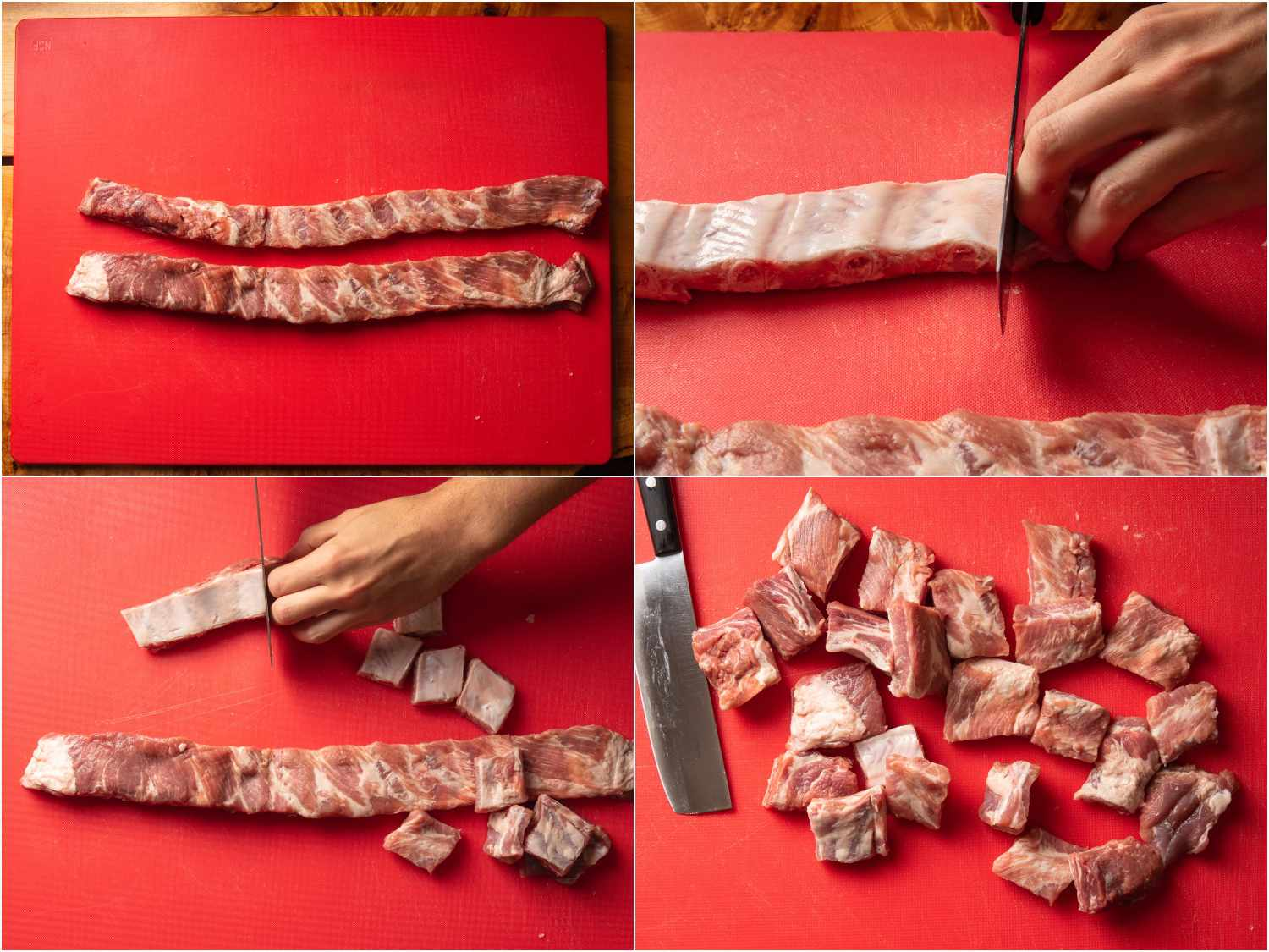 cutting meat between each rib into smaller pieces