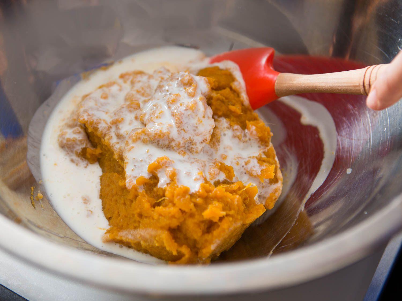 adding buttermilk to sweet potato
