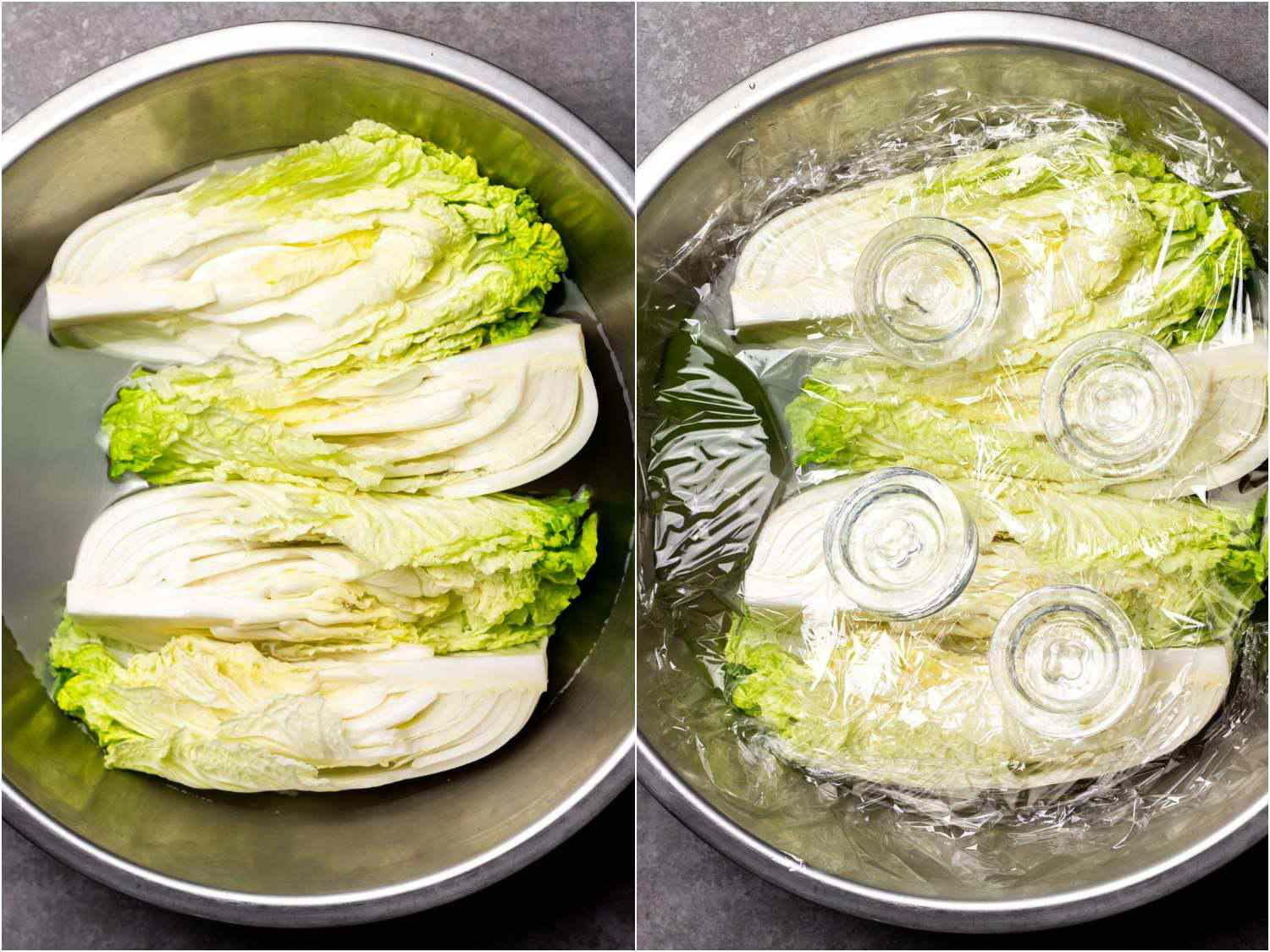 collage: four quarters of napa cabbage in a bowl with a brining mixture; plastic wrap and weights added on top to keep cabbage submerged
