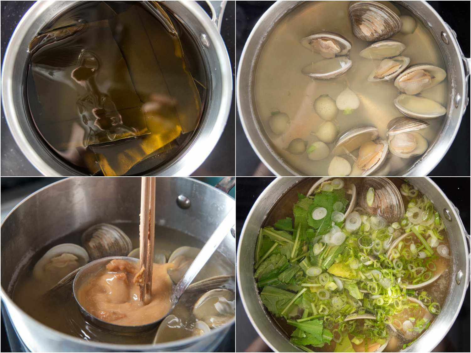 Stages of making miso soup with clams: soaking kombu in water, adding clams and halved turnips to dashi, mixing miso into dashi, adding scallions and greens