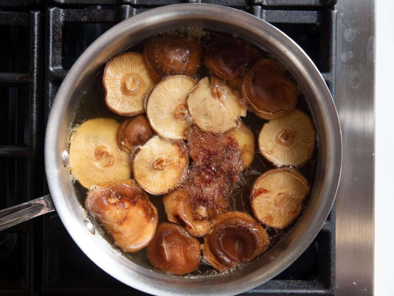 Shiitake mushrooms and bonito in an ozoni soup broth base