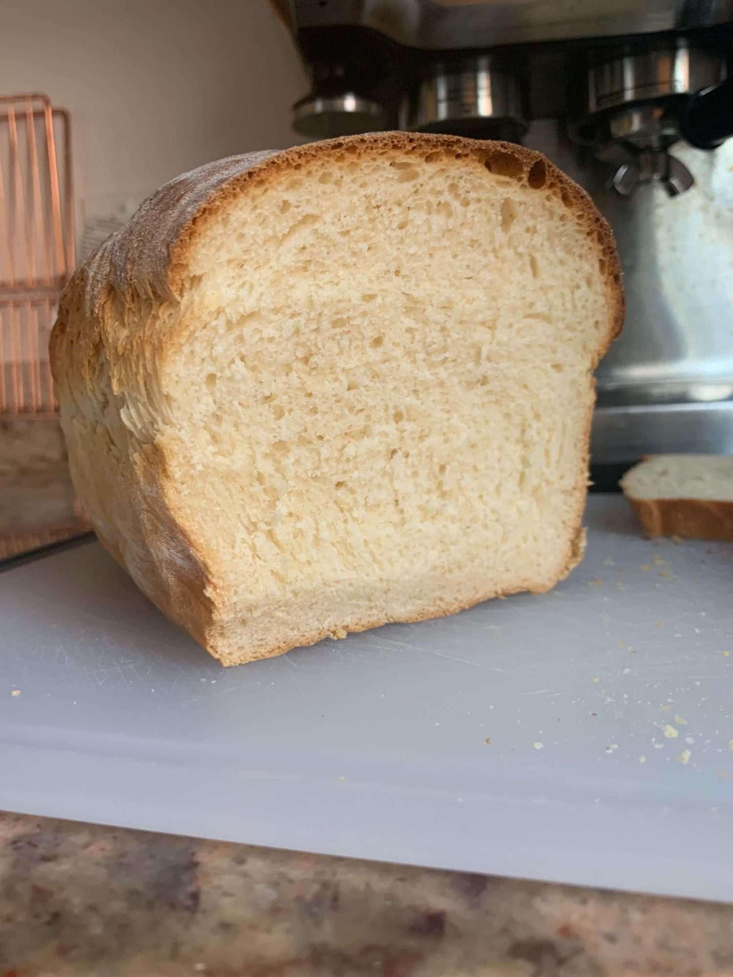 Crumb shot of homemade wonderbread