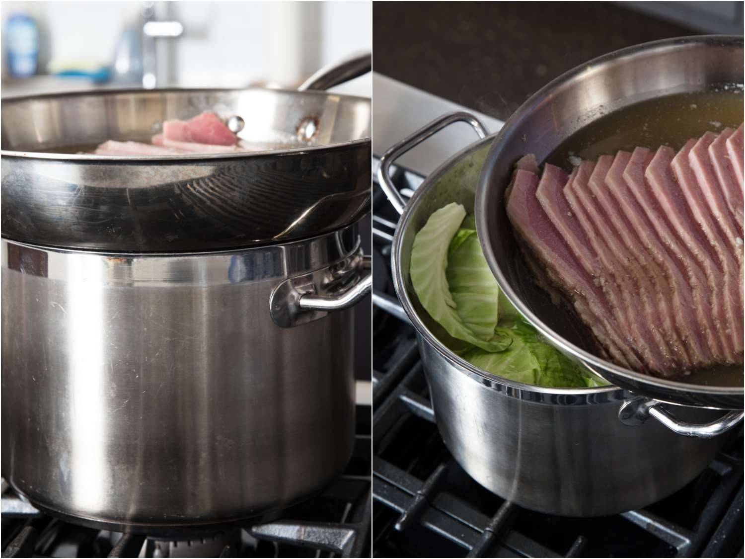 Set up for boiling potatoes, carrots, and cabbage while also warming corned beef slices.