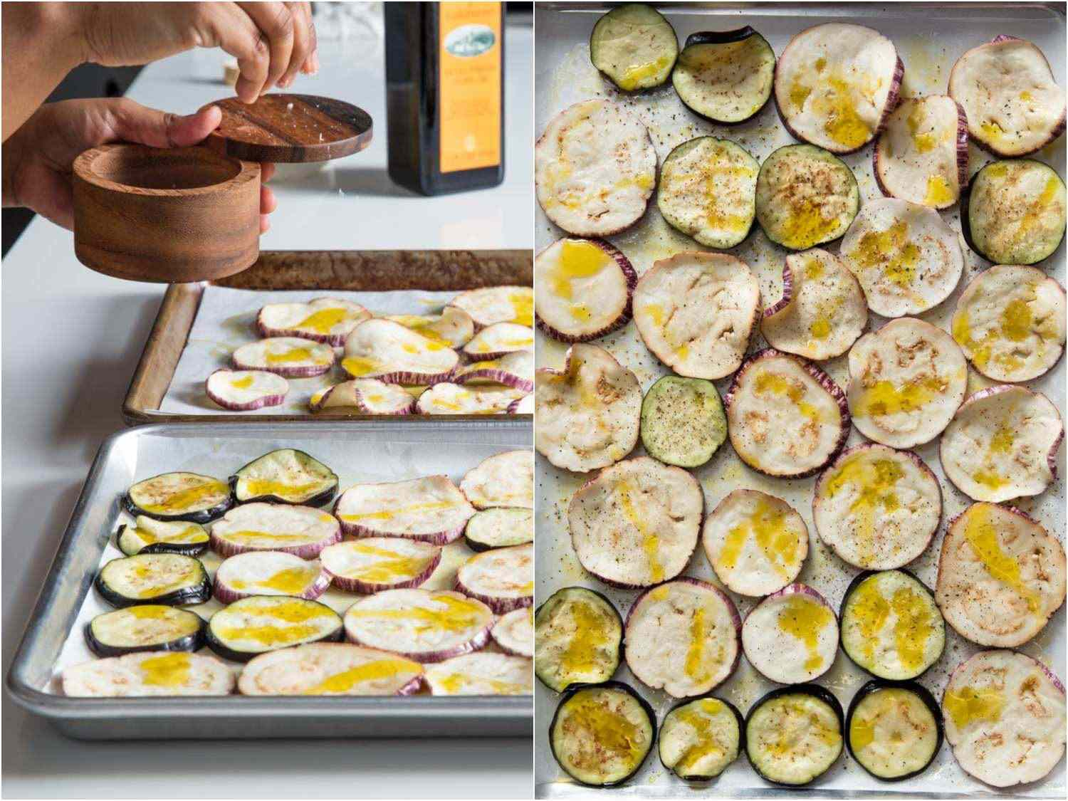 Collage of prepping eggplant for eggplant tart