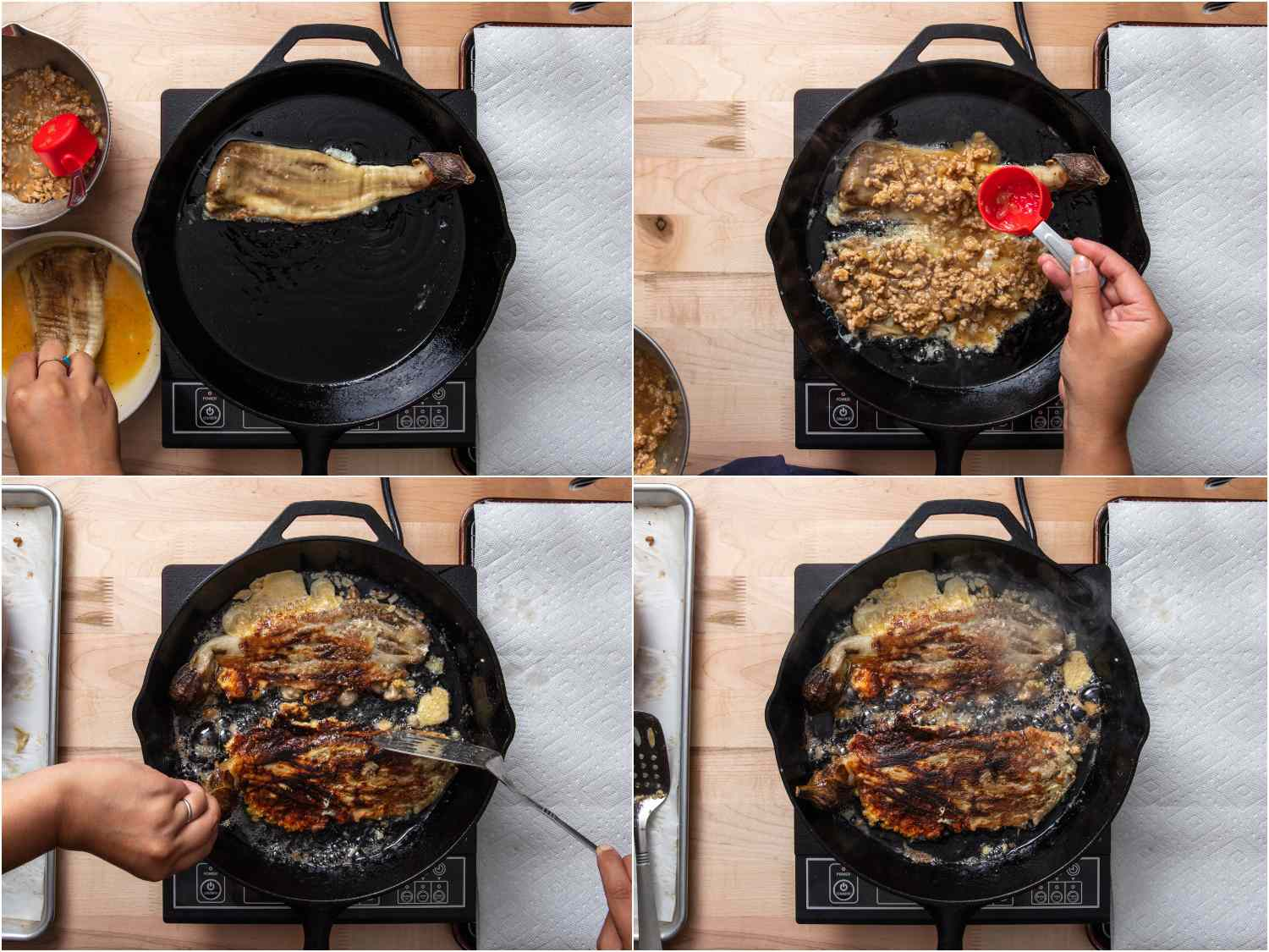 collage: dipping eggplant in egg mixture and adding to cast iron skillet; adding pork and egg mixture on top of eggplant; flipping eggplant; 2 flipped eggplants in skillet