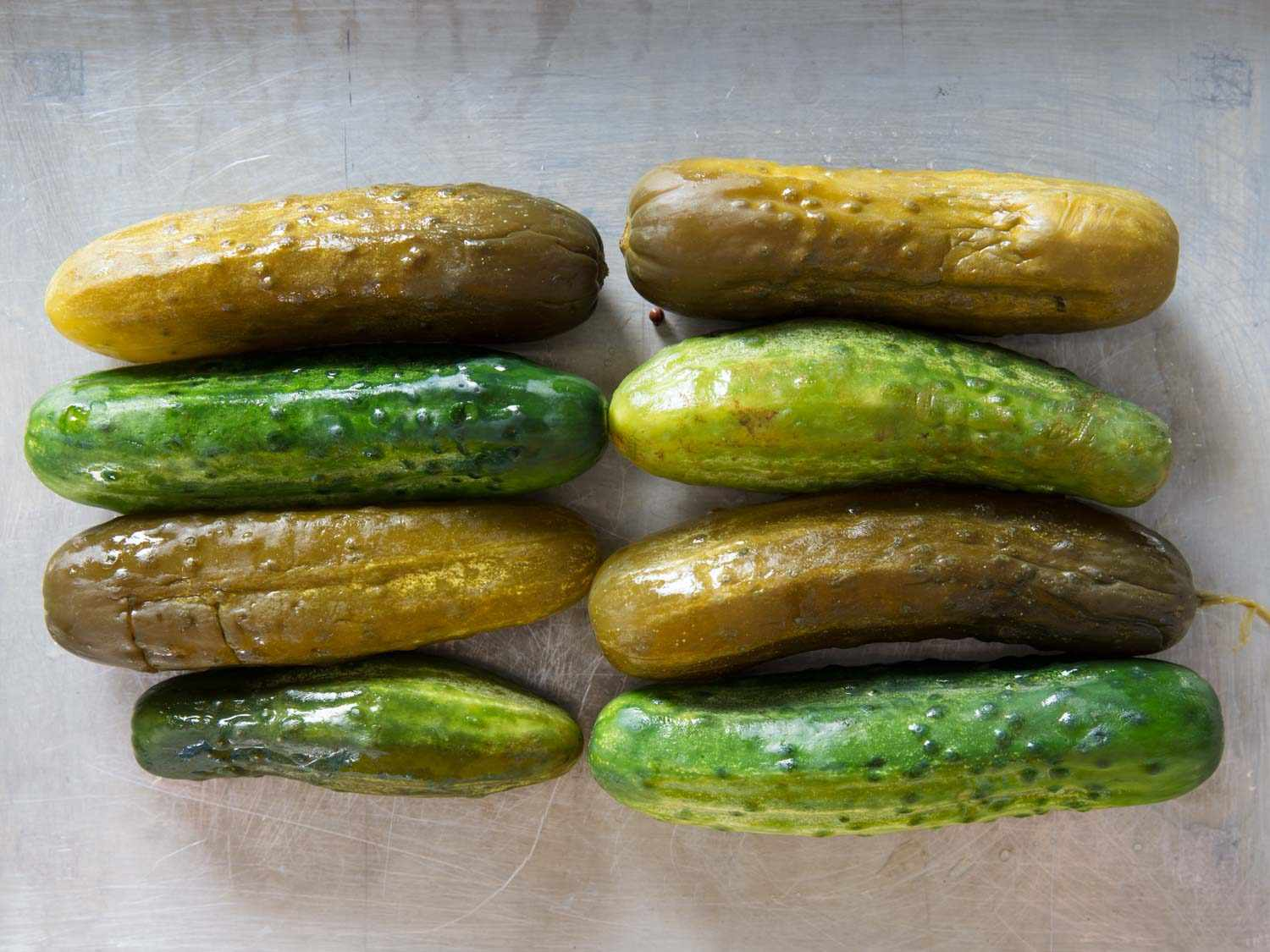 Full sour and half sour pickles from Jewish deli
