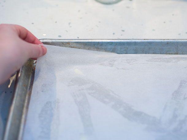 place parchment on baking sheet