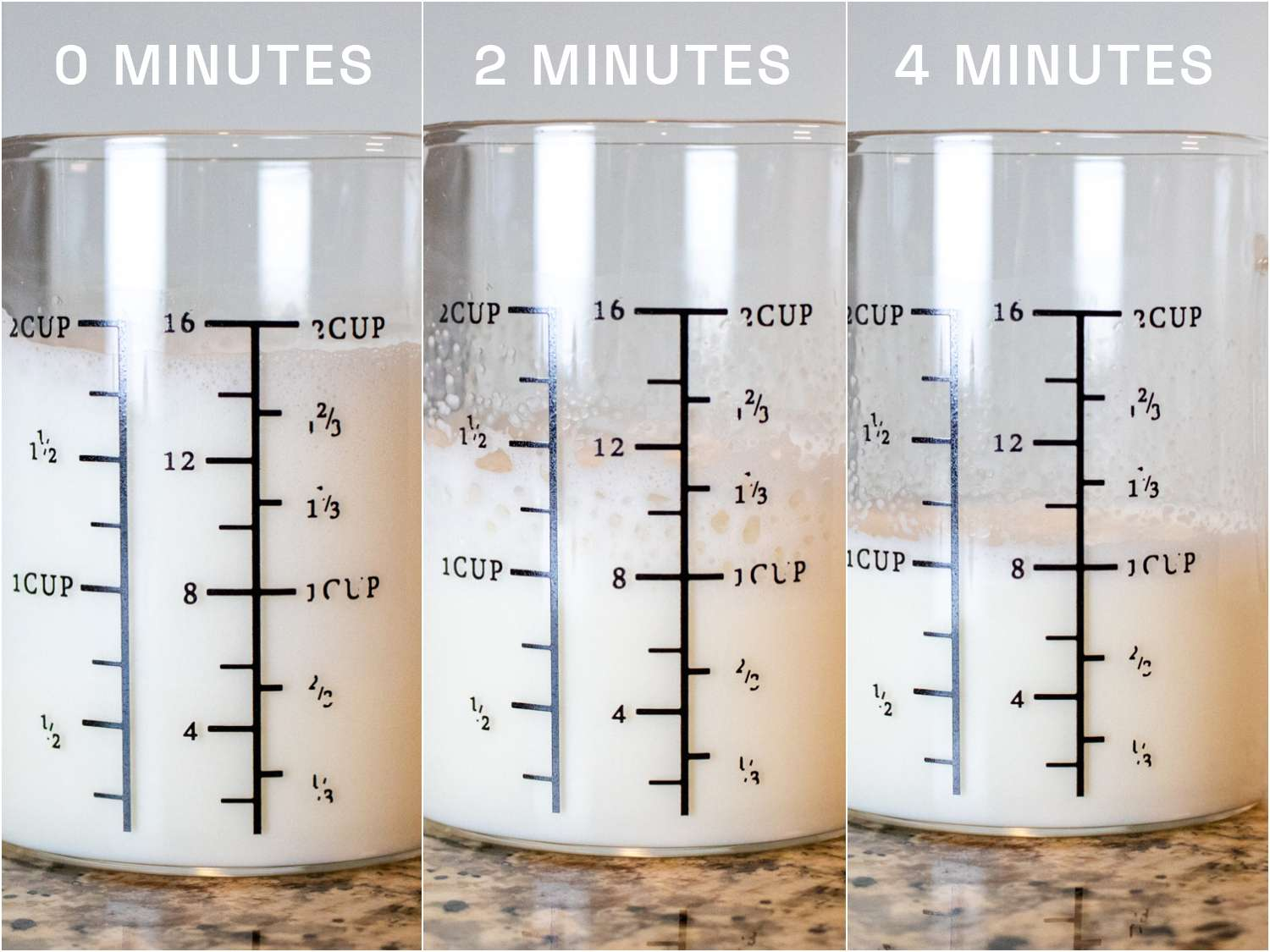 Golde Superwisk milk deflation at 0, 2, and 4 minutes