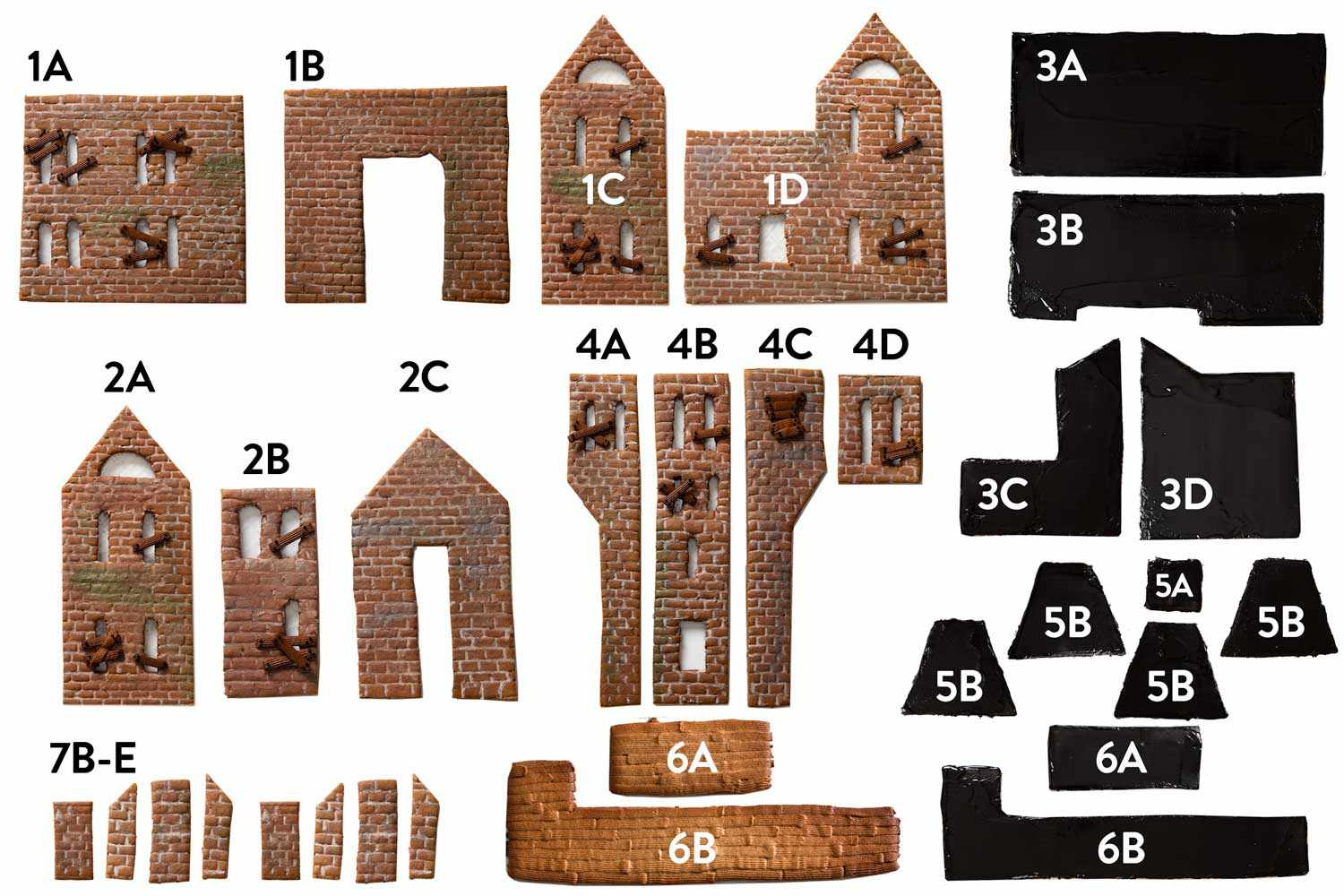 Collage of photos showing each segment of the haunted gingerbread house, with corresponding number/letter labels