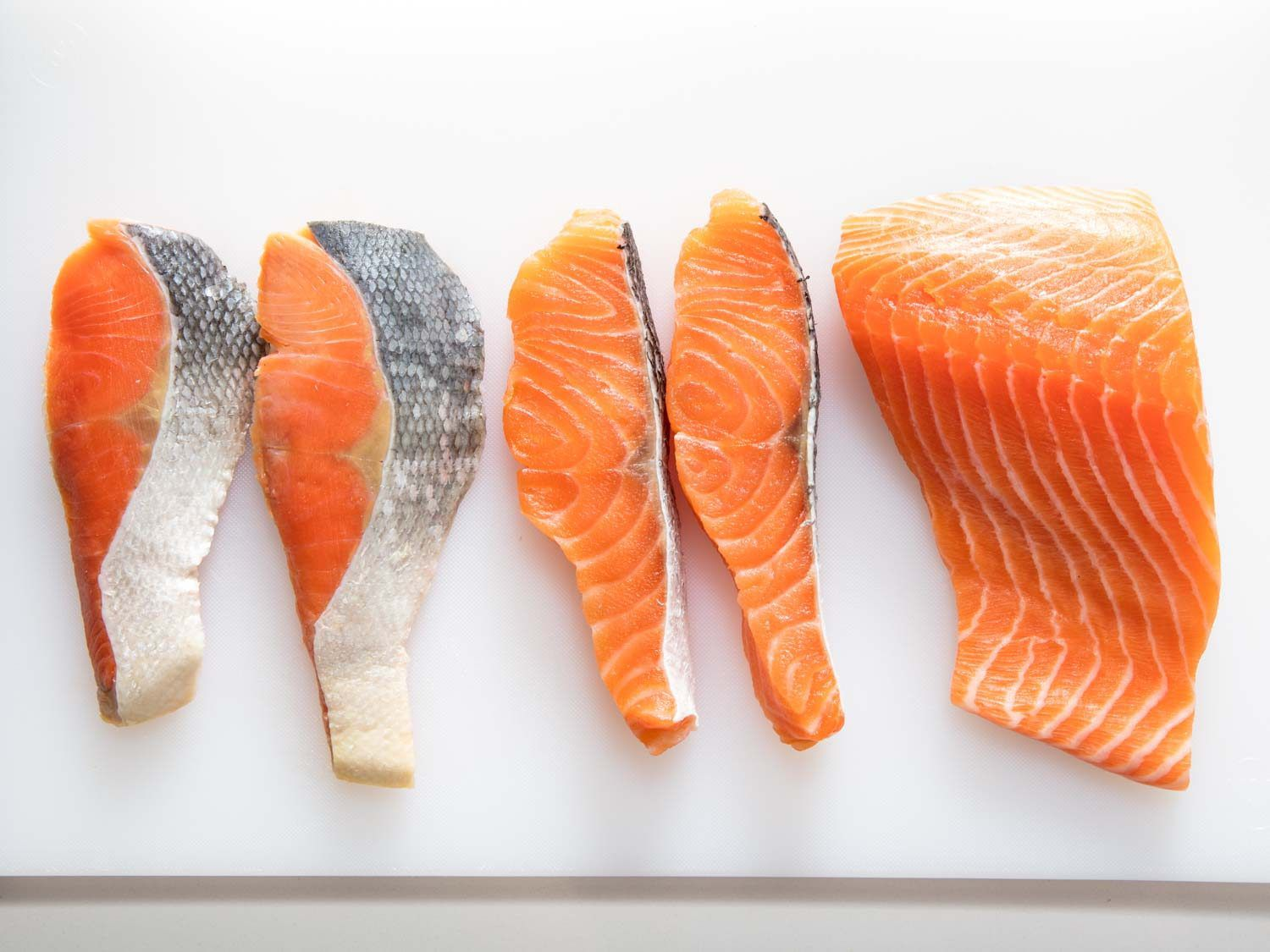 Store-bought salted salmon, home-cured salted salmon, fresh salmon