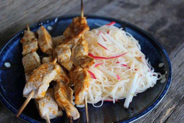Curry Pork Skewers with Vermicelli