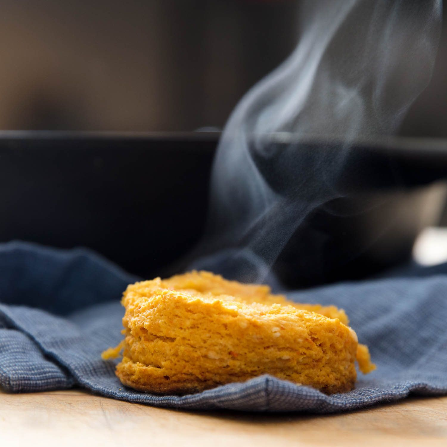 steaming hot sweet potato biscuit
