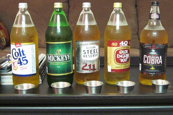 An assortment of 40-ounce Malt Liquor beers
