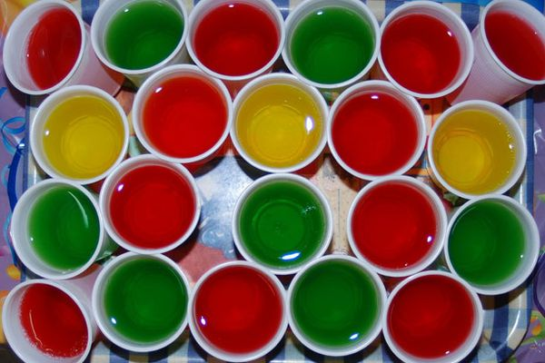 A tray of assorted Jell-O shots.