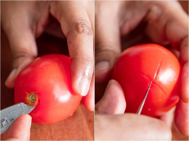 Scoring a tomato for blanching.