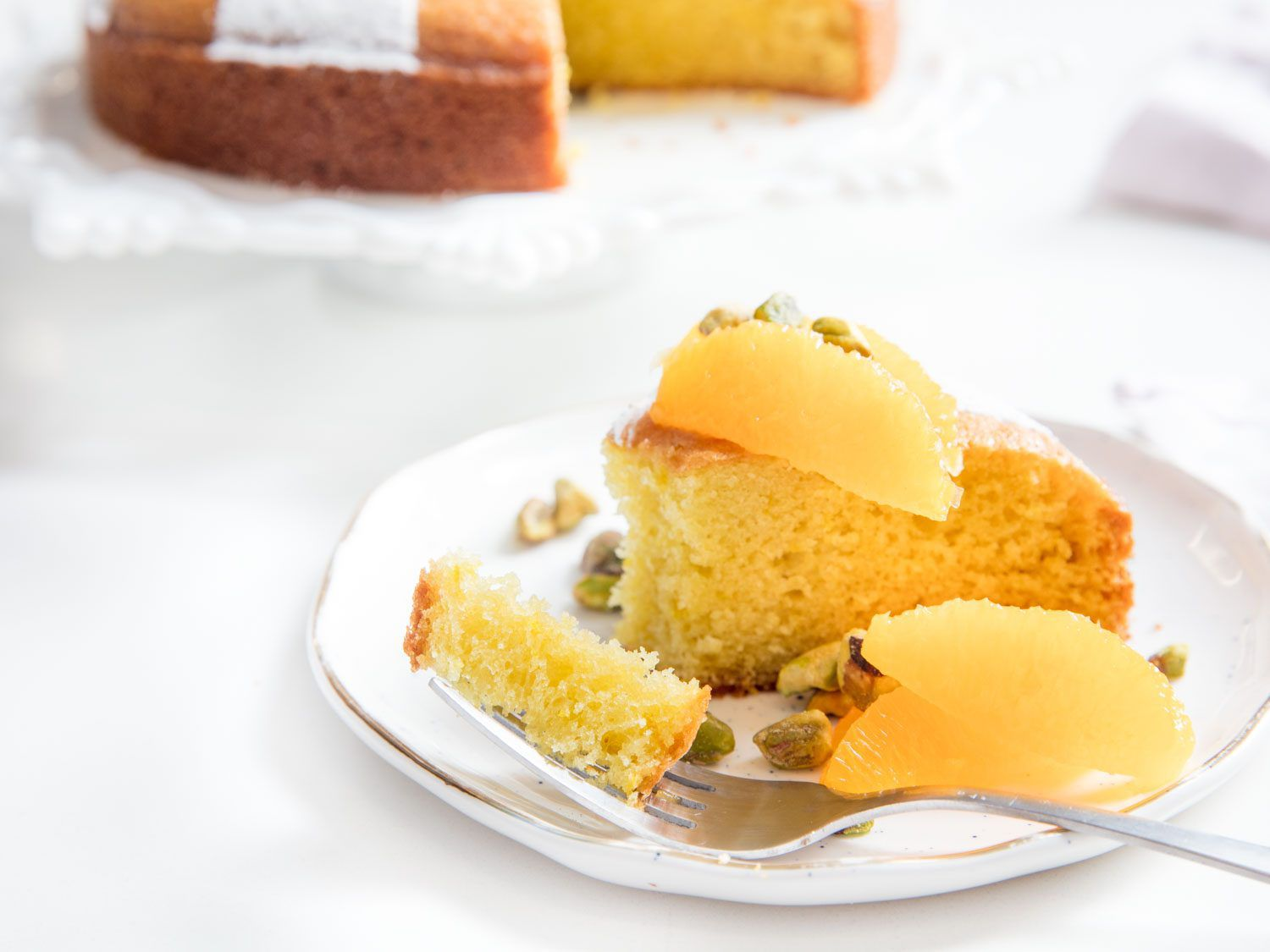 a bite of cake on a fork