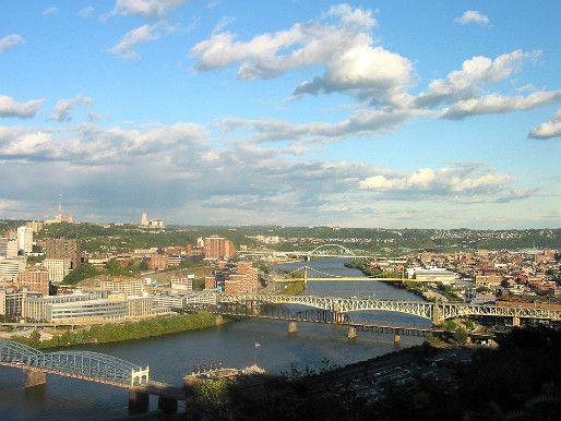 Looking upstream along the Monongahela River from Mount Washington in Pittsburgh, Pennsylvania.