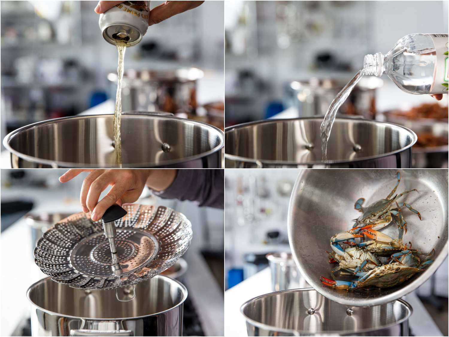 Preparing to steam crabs: pouring lager beer into the pot, pouring in vinegar, adding steamer basket, adding crabs