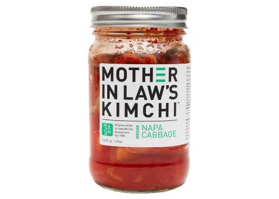A jar of Mother In Law's napa cabbage kimchi