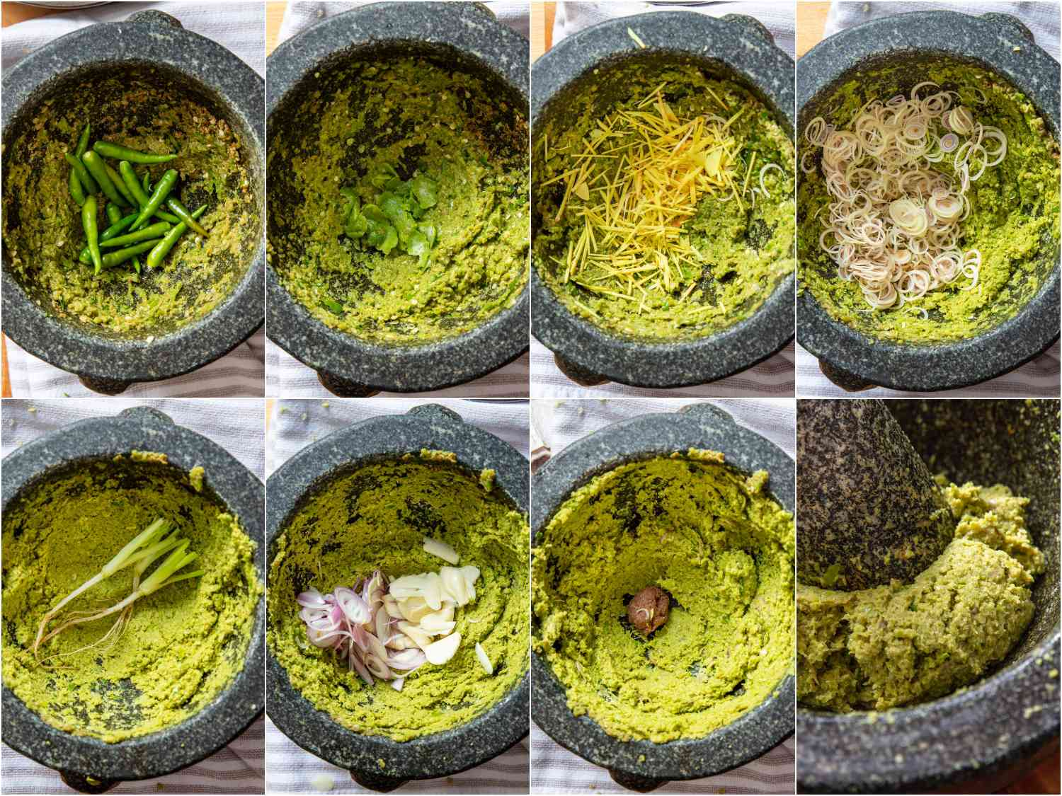 the process of green curry paste being made in a mortar and pestle, each ingredient being added one at a time and pounded thoroughly