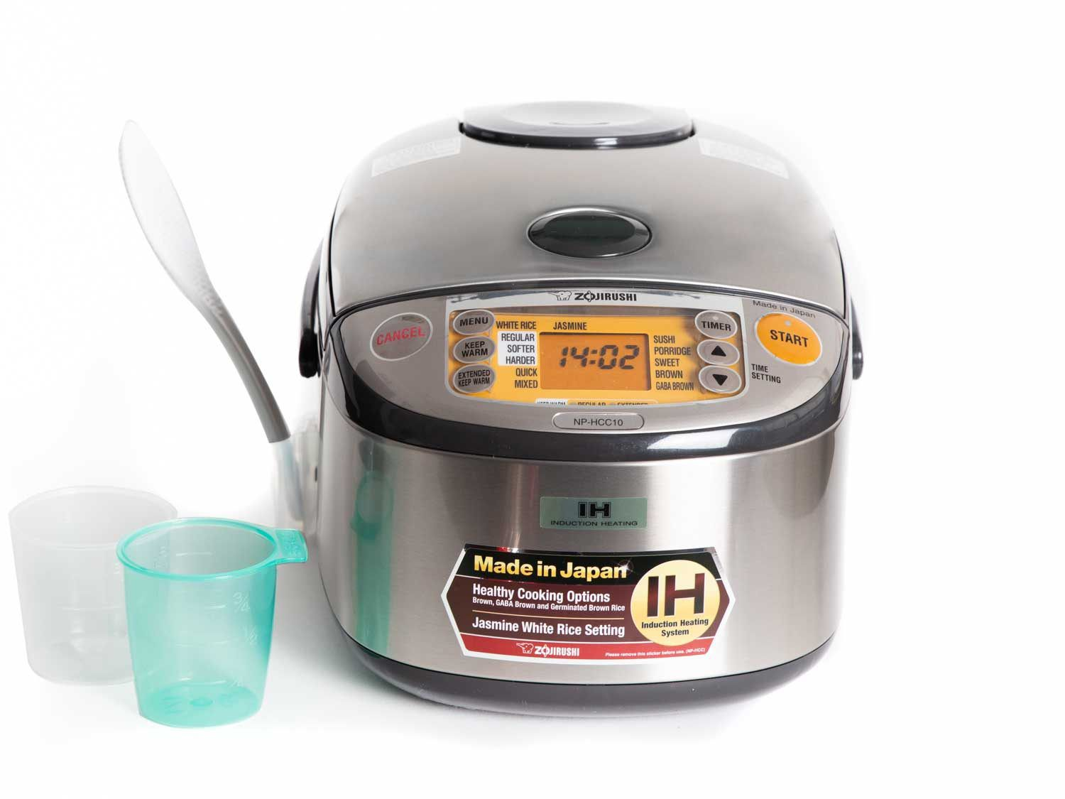 Frontal view of Zojirushi NP HCC10 rice cooker