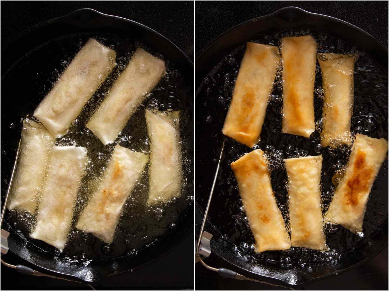 frying turon in oil in a cast iron pan
