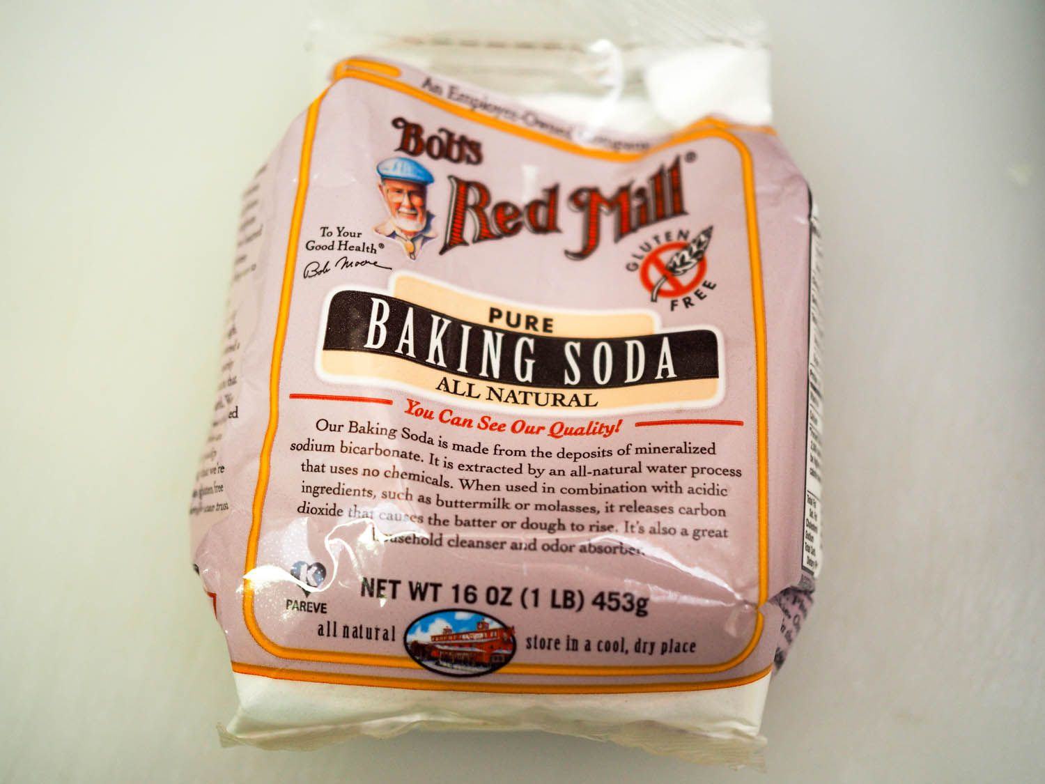 A bag of Bob's Red Mill baking soda.