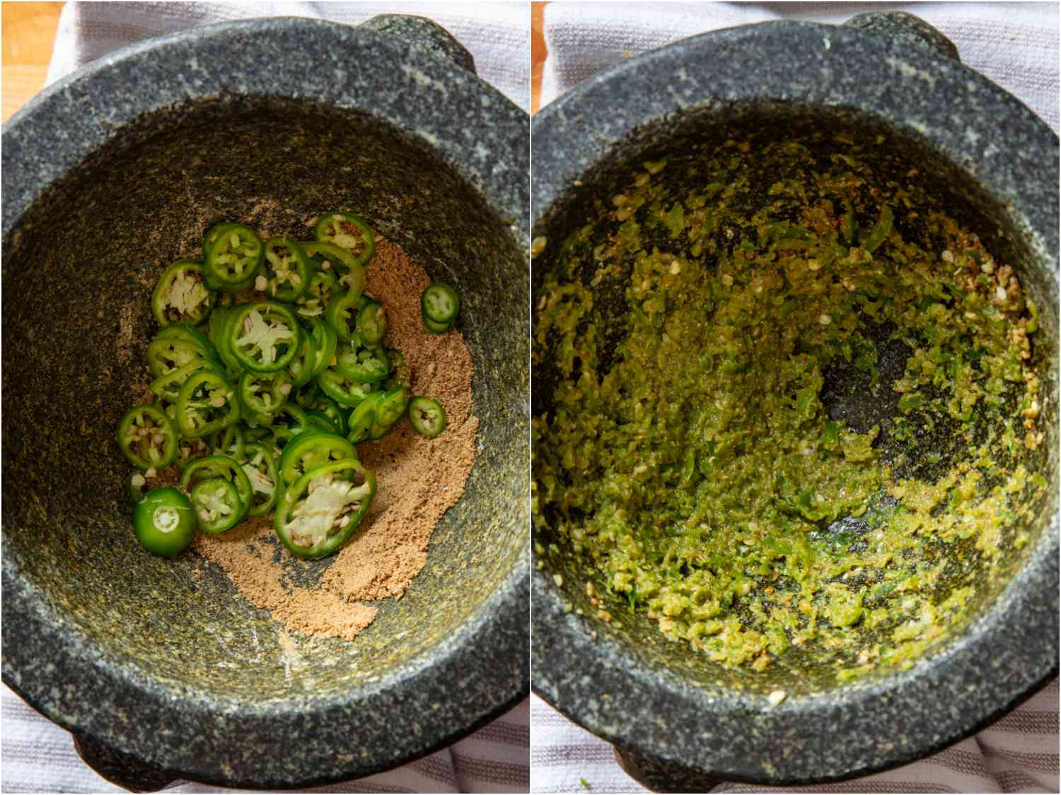 collage: serrano chiles added to mortar; pounded chiles