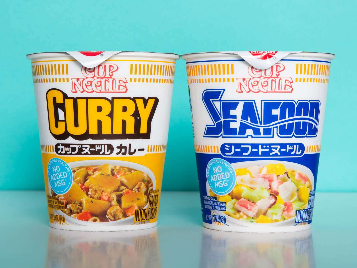 American Curry and Seafood Cup Noodles side by side