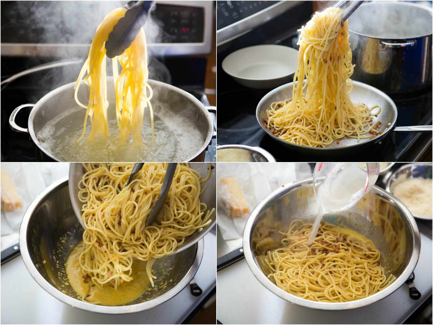 Photo collage of steps in spaghetti carbonara, showing boiling pasta, adding it to skillet with guanciale, and transferring to bowl with egg-cheese mixture and pasta water.