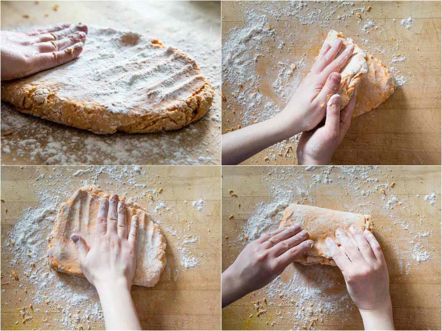 stages of patting and folding sweet potato biscuit dough