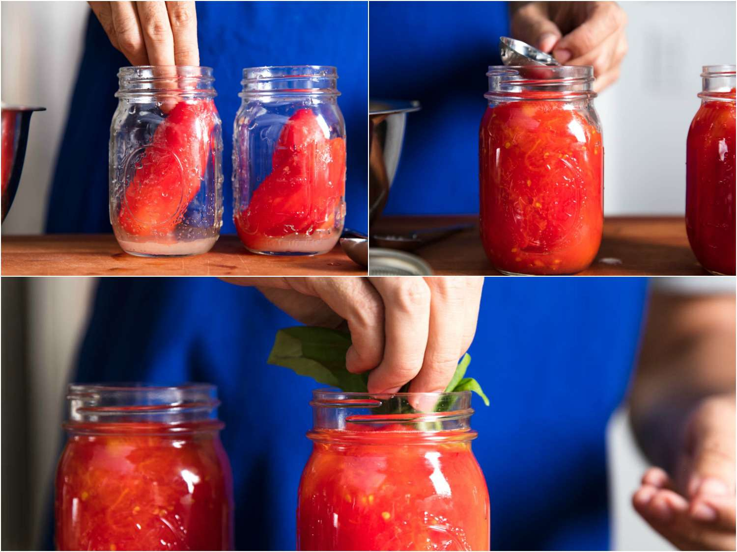 Collage of canning tomatoes: adding blanched tomatoes to jars, adding liquid to jars, adding herb sprigs