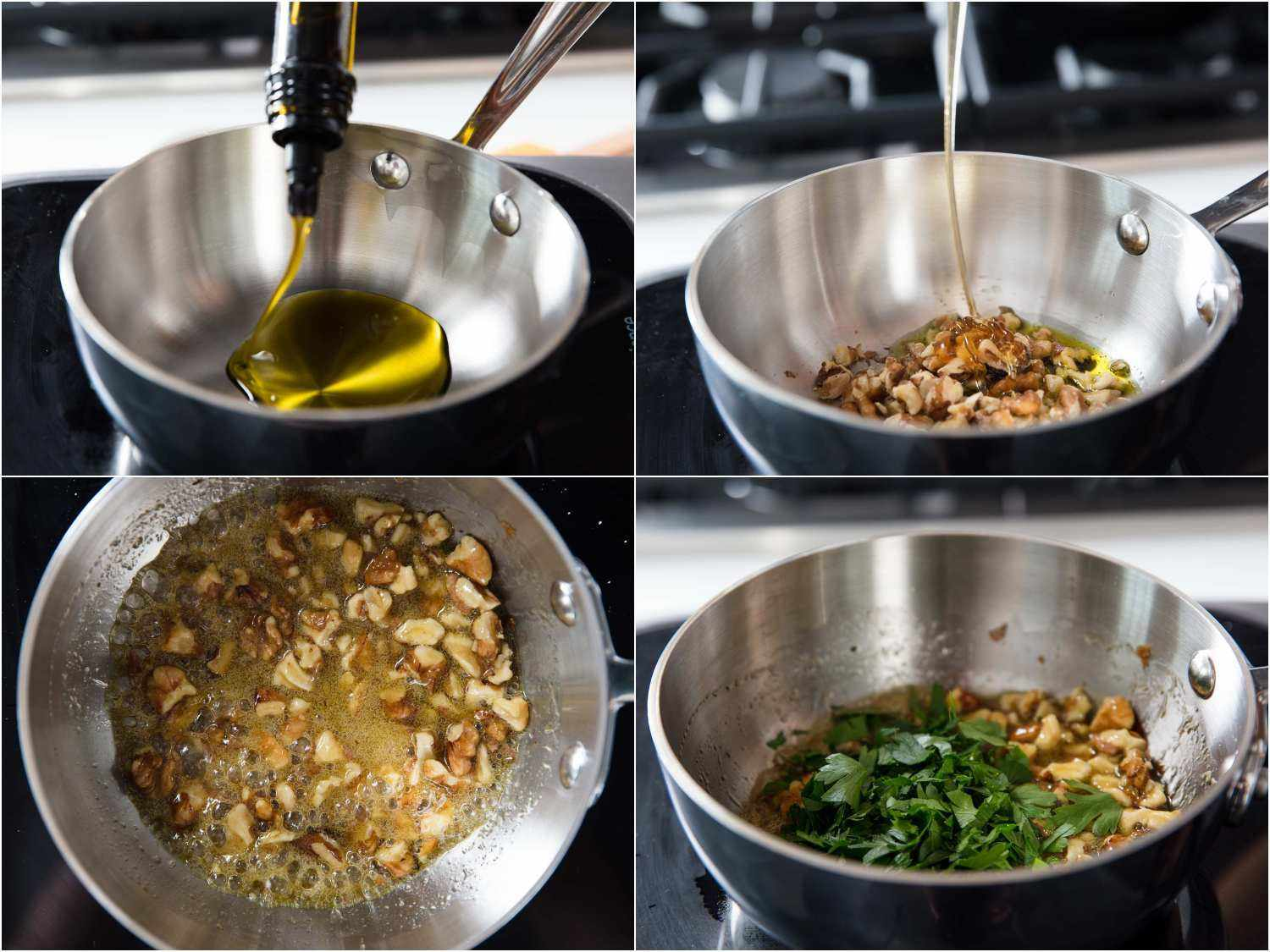 Toasting walnuts in oil, adding honey, lemon, and parsley.