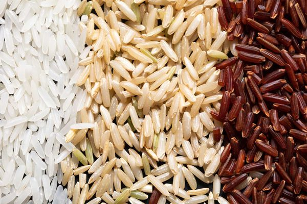 Piles of uncooked white rice, brown rice, and red rice.