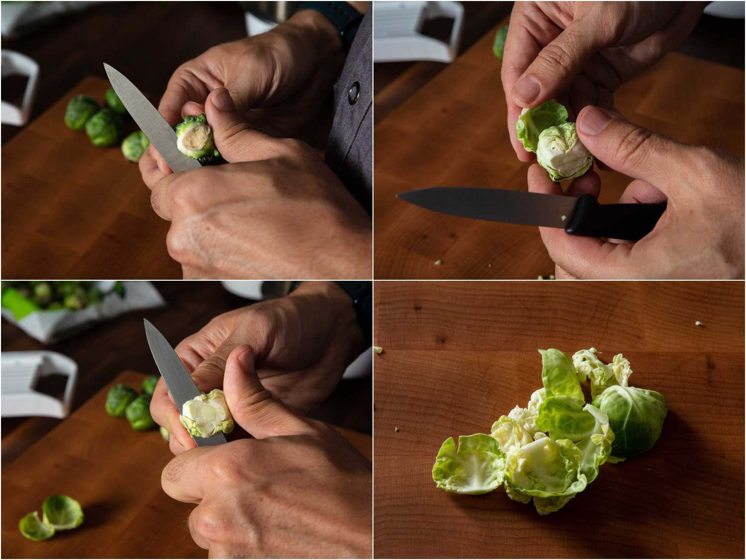 A four-photo collage showing the process for separating a Brussels sprout into its individual leaves: cut the core to detach the leaves, remove the leaves, repeat until most of the leaves have been removed.