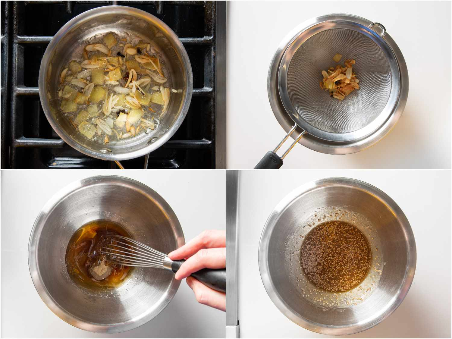 Heating oil, garlic, ginger, star anise, and cloves in a sauce pan and then straining before whisking in sesame oil, water, sugar, rice vinegar, salt, soy sauce, white pepper, and sesame seeds.