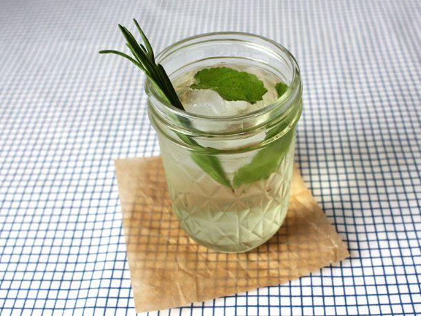 Lemon Balm Lavender Tisane in a small mason jar.