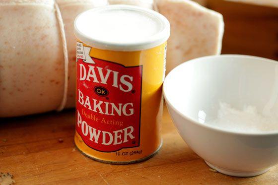 Baking powder and salt for porchetta rub