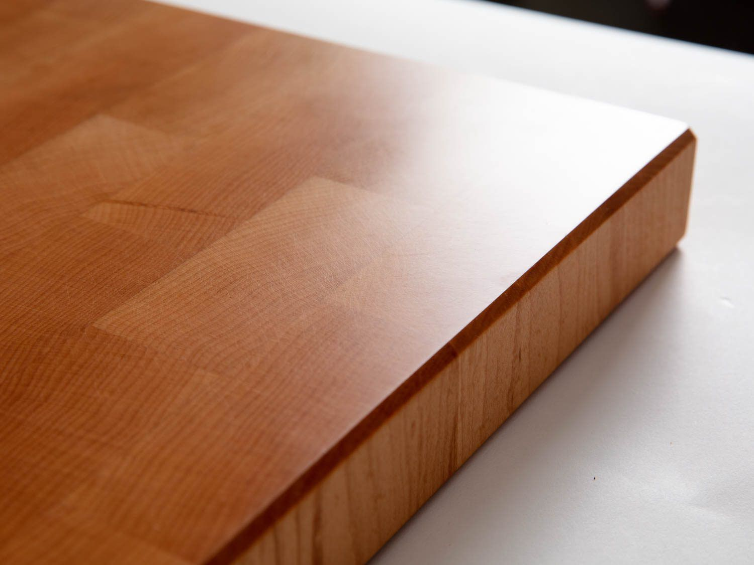 The fine finish on Brooklyn Butcher Block's woodwork, showing how light shines off the incredibly smooth surface.