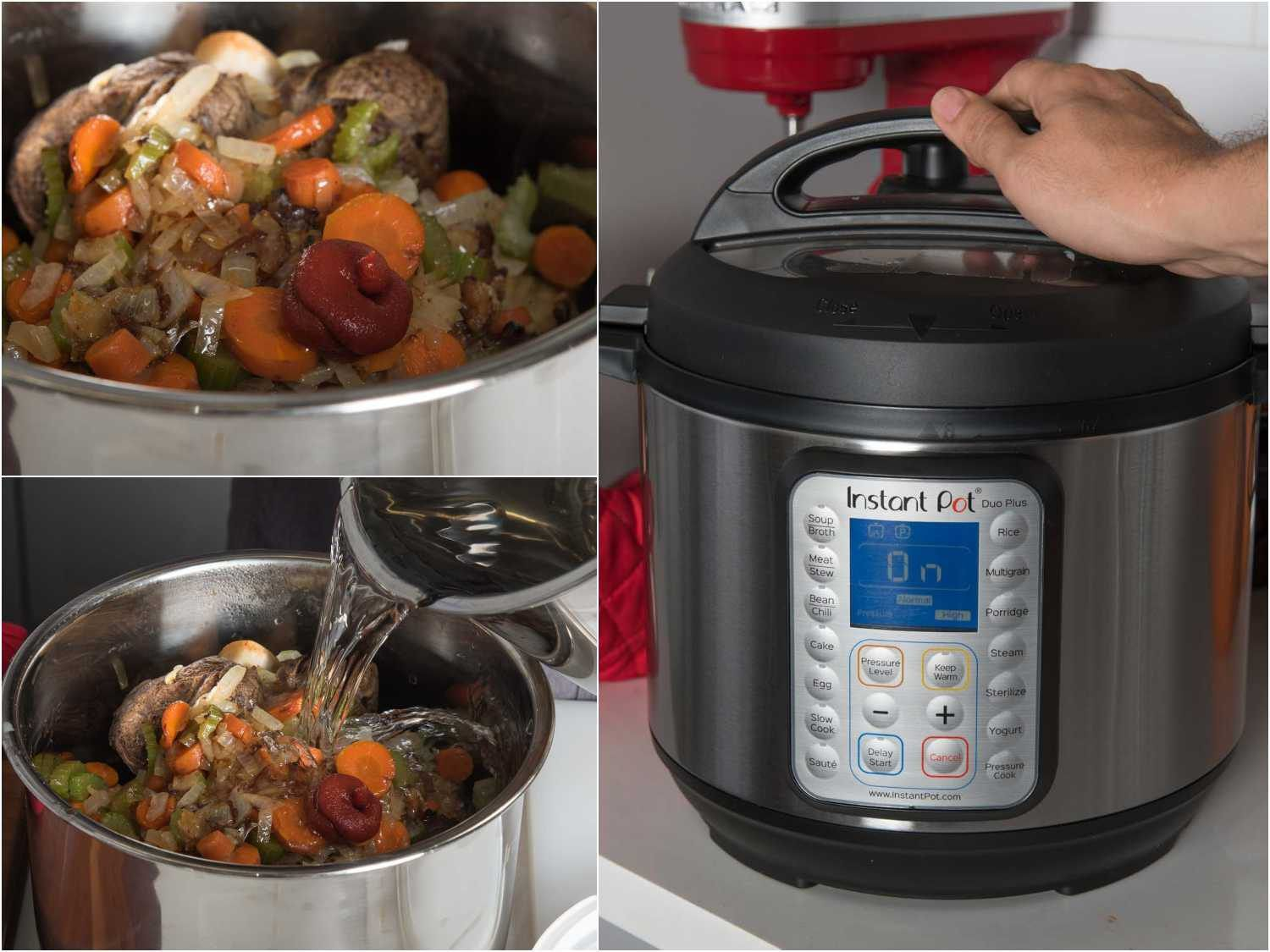 Cooking roasted beef bones and vegetables in the pressure cooker for beef stock
