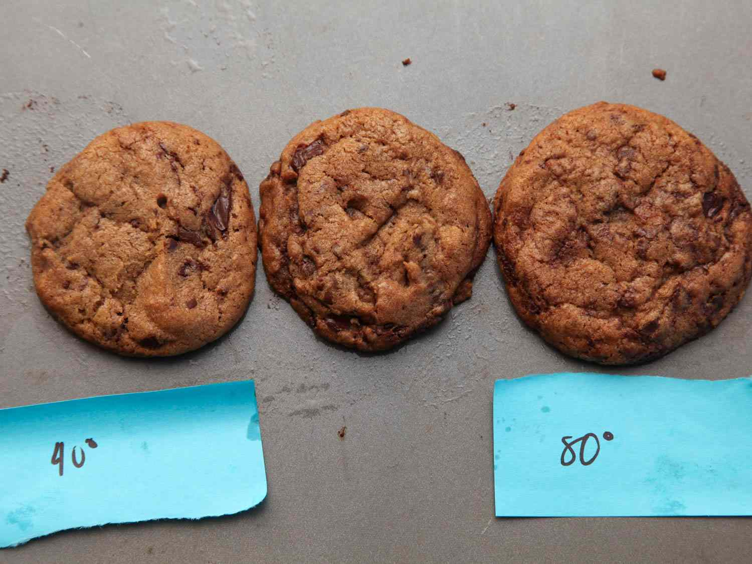 Side-by-side photograph showing three cookies baked at various starting dough temperatures.
