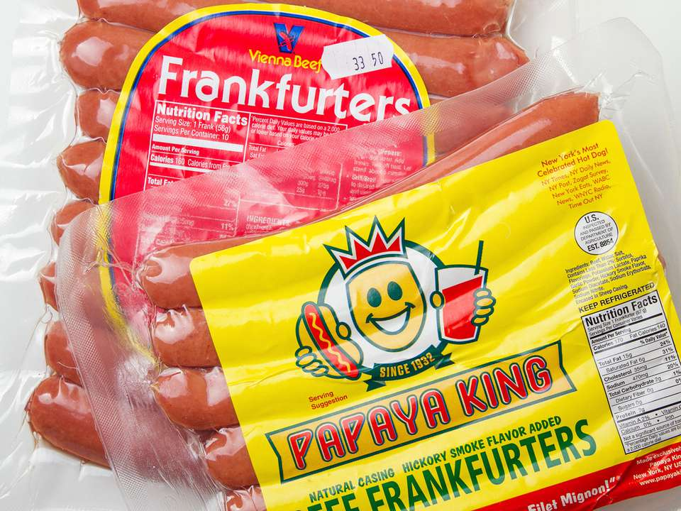 Packages of Vienna Beef hot dogs and Sabrett hot dogs.