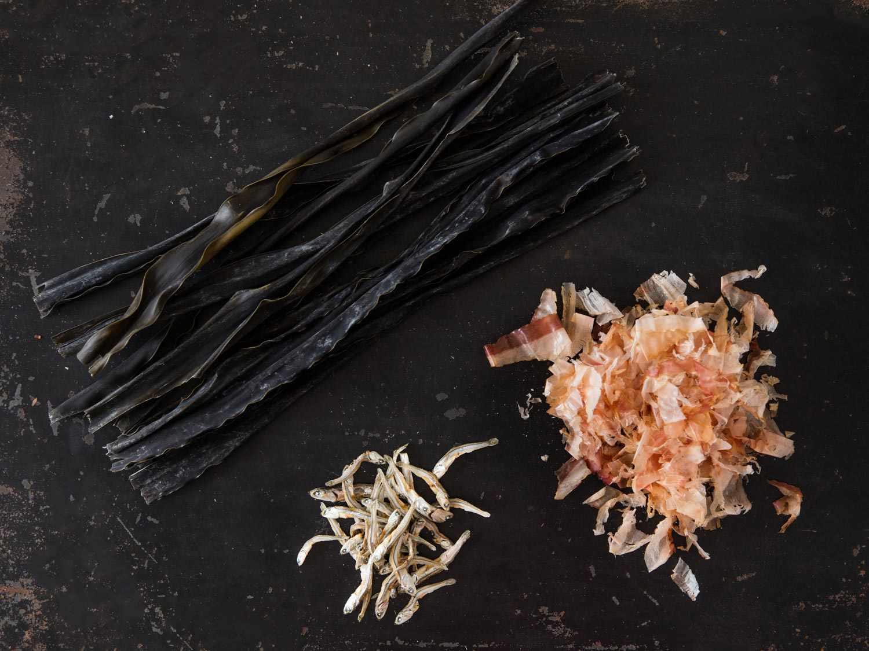Kombu, katsuobushi, and anchovies