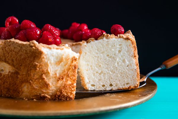 angel food cake topped with berries