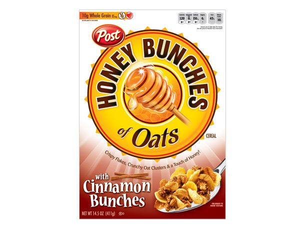 Cinnamon flavored Honey Bunches of Oats box cover.