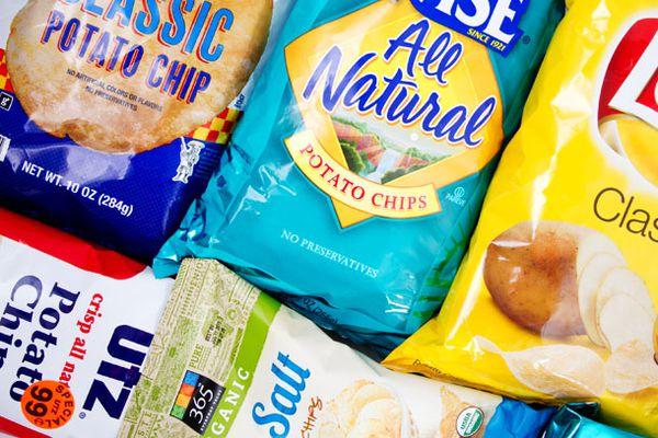 An assortment of potato chip bags.