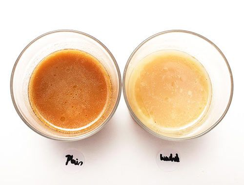 Comparison of tonkotsu broths made with cleaned and uncleaned pork bones