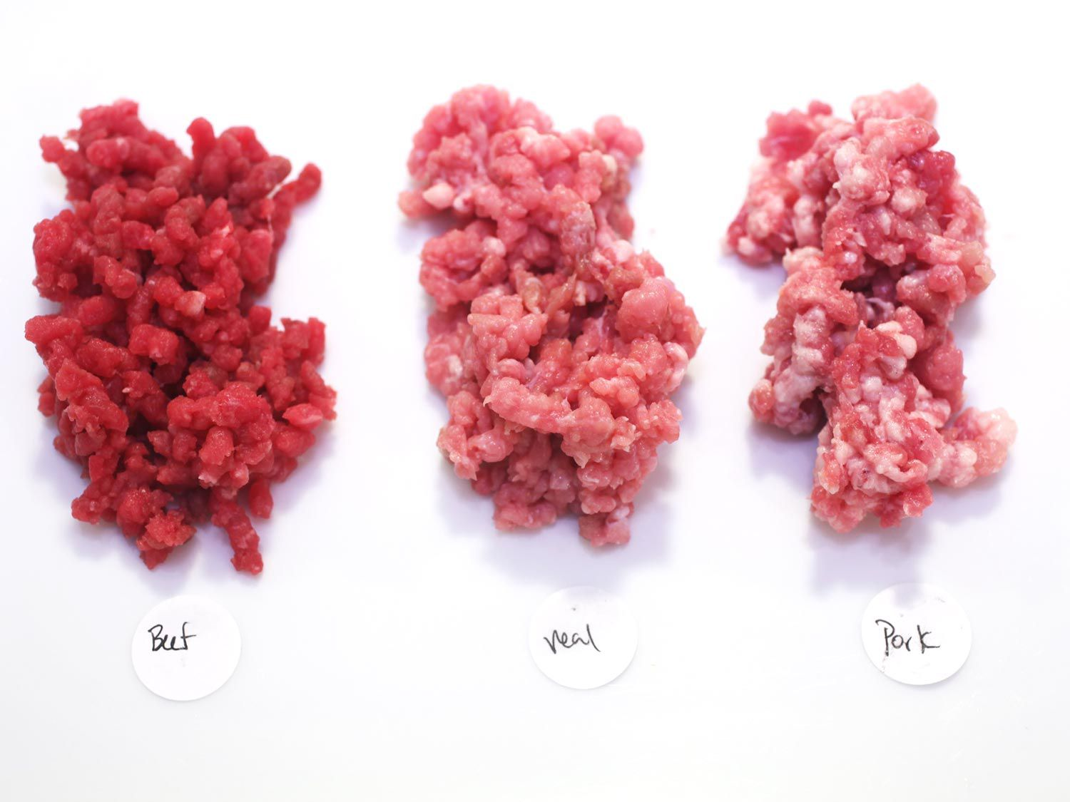 comparing raw ground beef, veal and pork